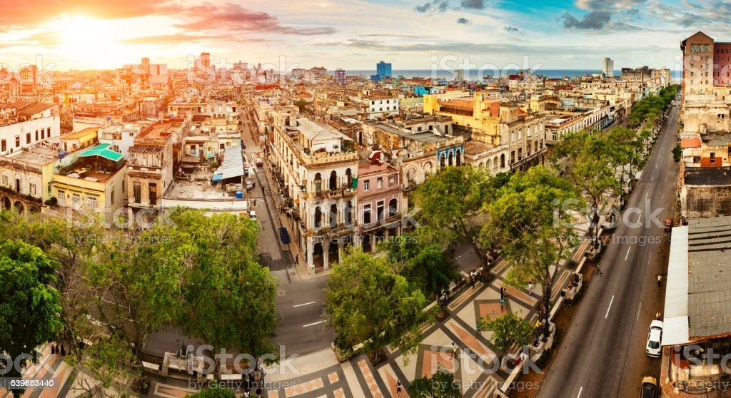 Panoramic Skyline of Old Havana Cuba stock photo