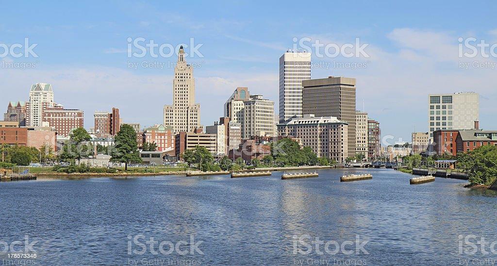 Panoramic skyline of Providence, Rhode Island stock photo