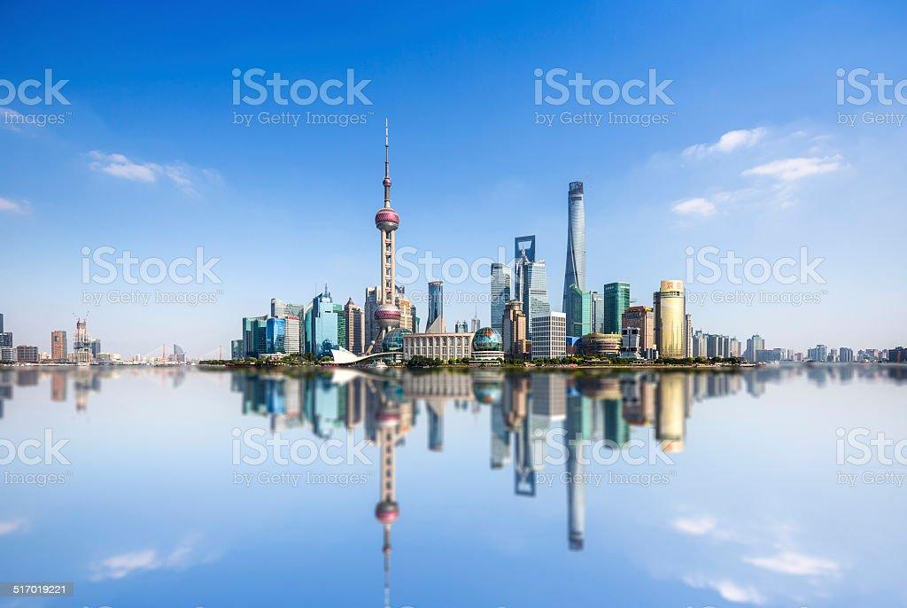 Panoramic skyline of Shangha stock photo