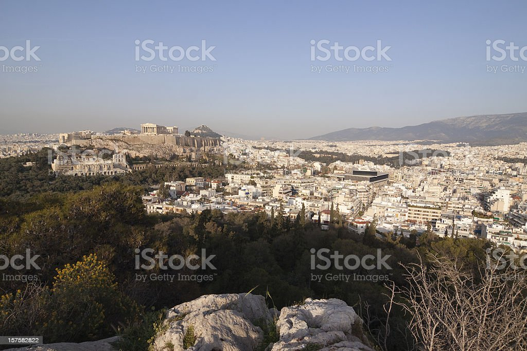 Panoramic Skyline of the Acropolis in Athens royalty-free stock photo