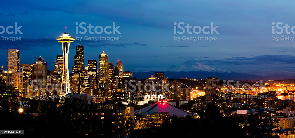 Panoramic Skyline of the Beautiful City of Seattle stock photo