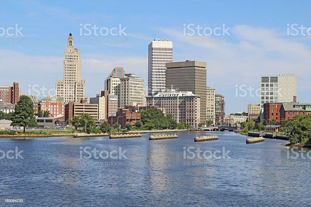 Panoramic skyline view of Providence, Rhode Island stock photo
