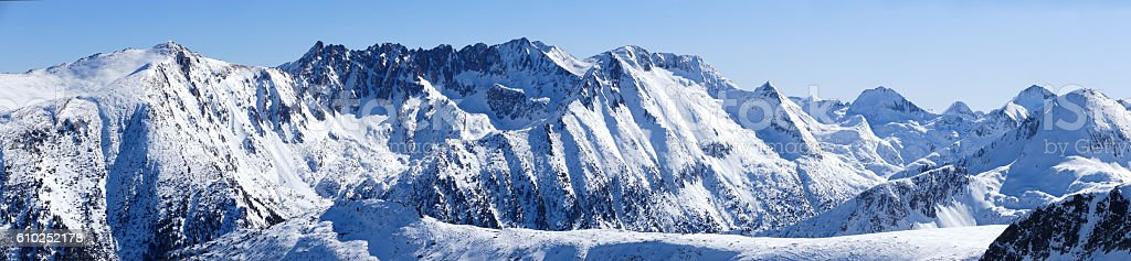 Panoramic snow mountain peak stock photo