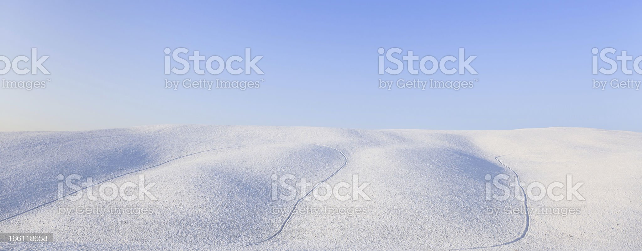 Panoramic snow rolling hills landscape in winter. Tuscany, Italy royalty-free stock photo