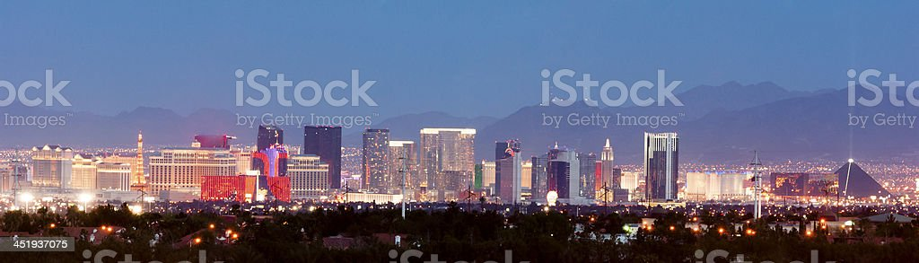 Panoramic Southwest Landscape Red Rock Hills Downtown Las Vegas stock photo