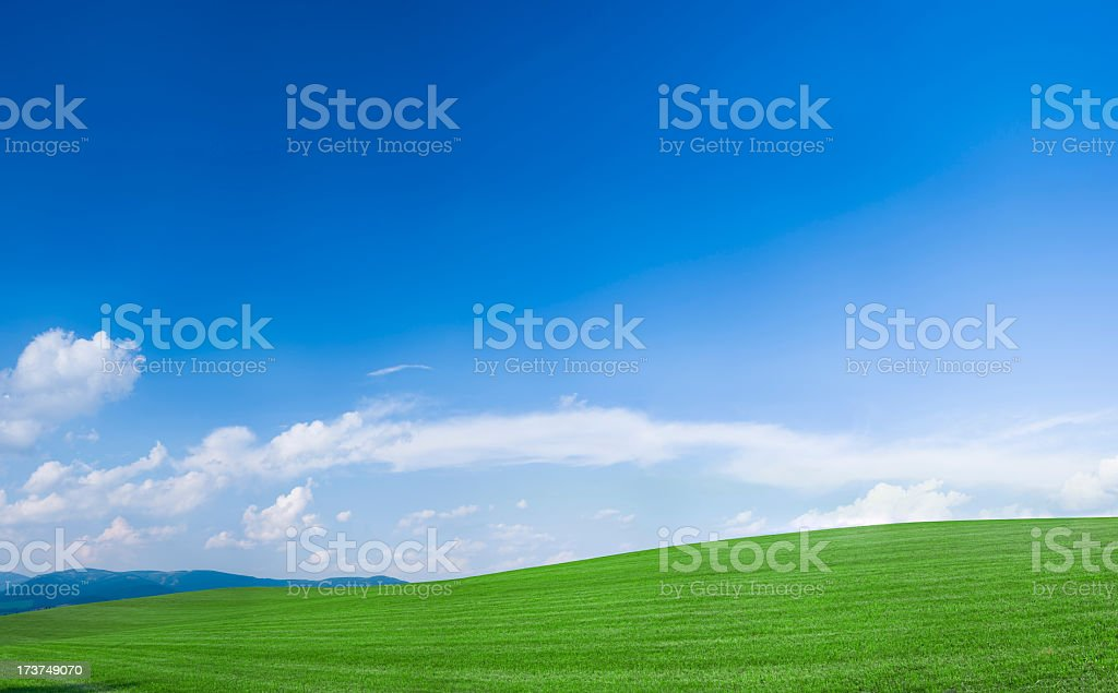 Panoramic spring landscape 136MPix XXXXL meadow, blue sky, clouds royalty-free stock photo