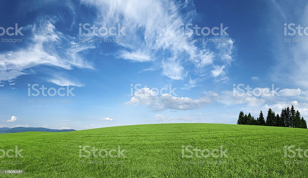 Panoramic spring landscape 70MPix XXXXL size - highlands, blue sky royalty-free stock photo