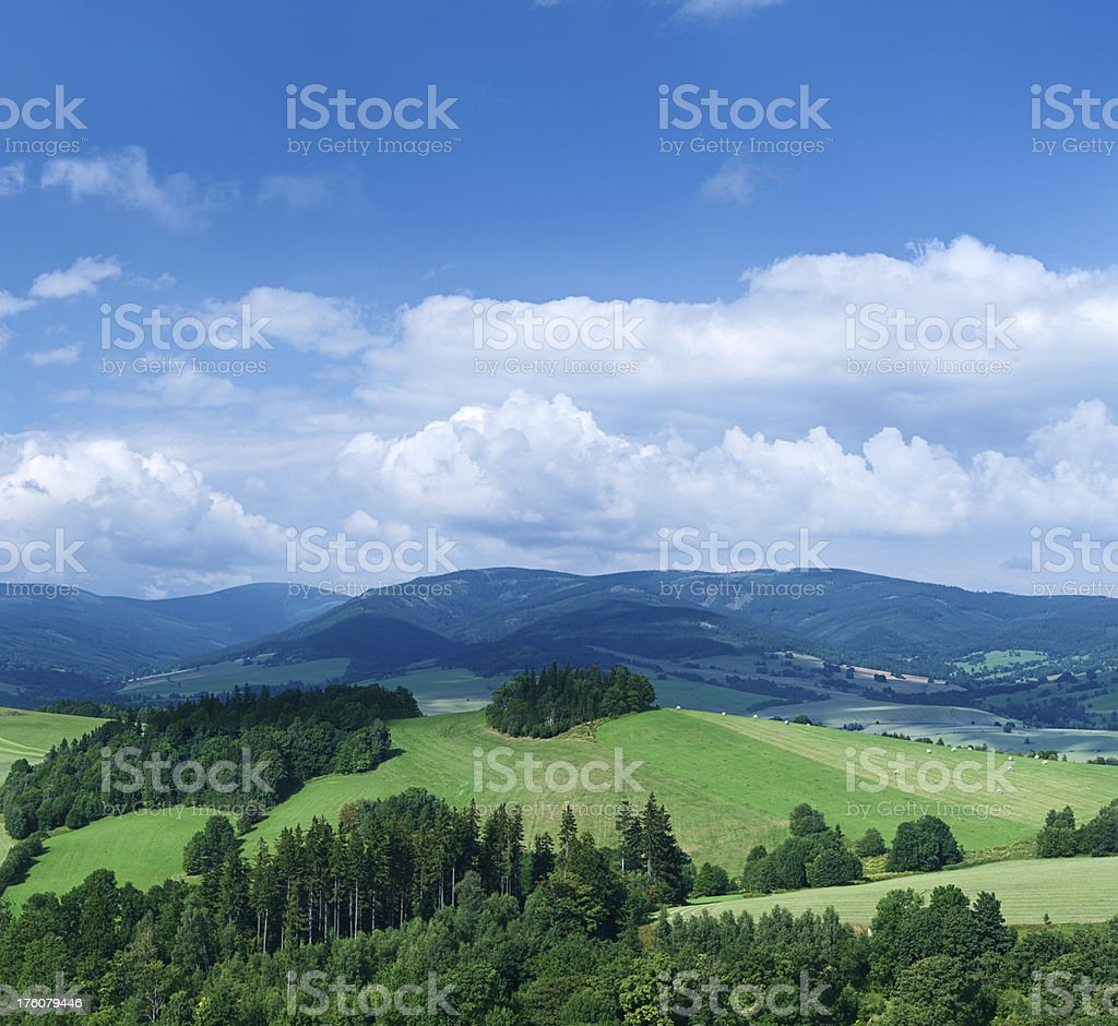 Panoramic spring landscape 75MPix XXXXL size - highlands, blue sky stock photo