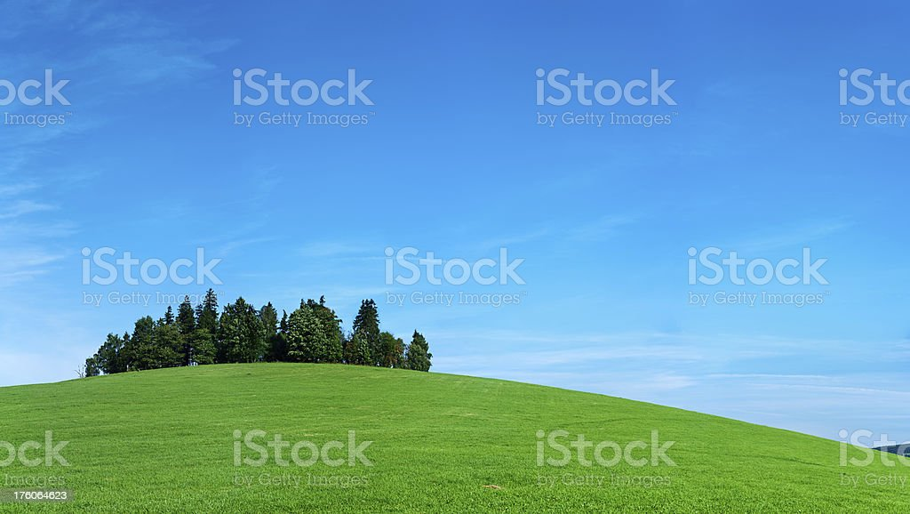 Panoramic spring landscape 86MPix XXXXL size - meadow, blue sky royalty-free stock photo