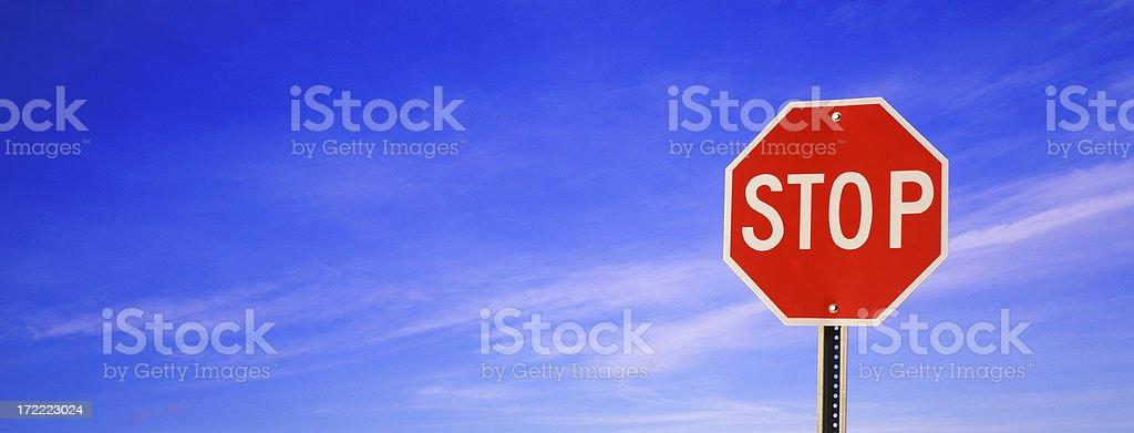Panoramic Stop sign stock photo