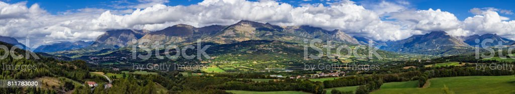 Panoramic summer afternoon view on the Champsaur and the Drac Valley. Hautes-Alpes, Alps, France stock photo