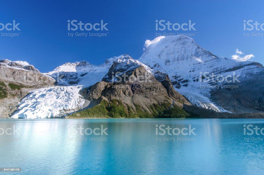 Panoramic summer mountain landscape at Berg lake, Canadian Rockies. stock photo