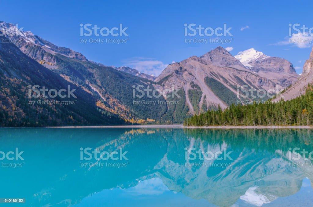 Panoramic summer mountain landscape at Kinney lake, Canadian Rockies stock photo