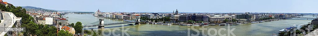 Panoramic summer view to Budapest from a hill Gelert. stock photo