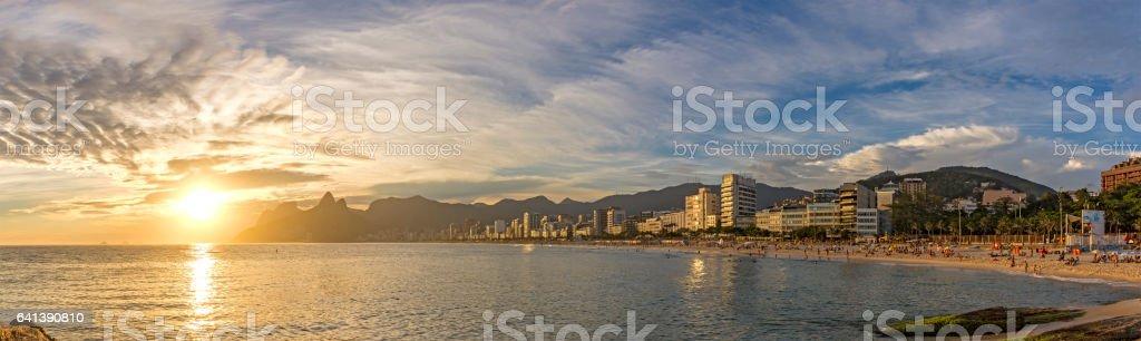 Panoramic sunset at Arpoador beach in Ipanema Rio de Janeiro stock photo