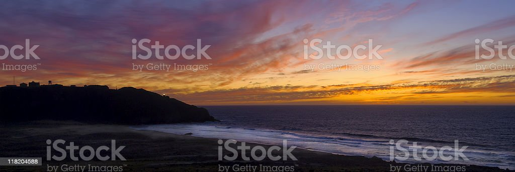 Panoramic Sunset at Point Sur, California royalty-free stock photo