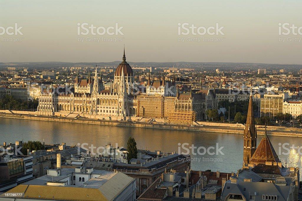 Panoramic sunset over parliament Hungary, Budapest royalty-free stock photo