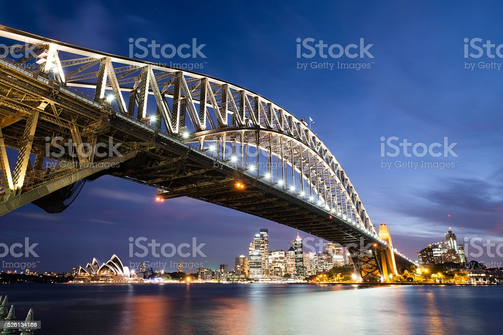 Panoramic Sunset Photo Sydney Harbor stock photo