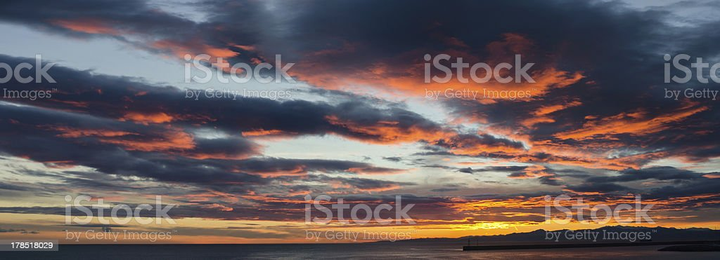 panoramic sunset royalty-free stock photo