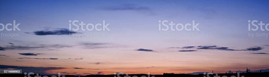 panoramic sunset with a nice gradient stock photo