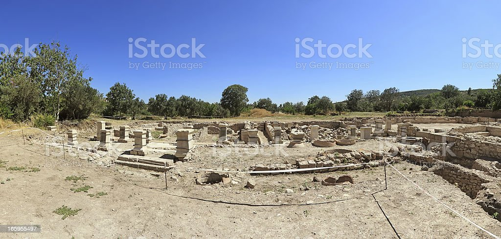 Panoramic Temple of Apollon Smintheus, Canakkale, Turkey stock photo