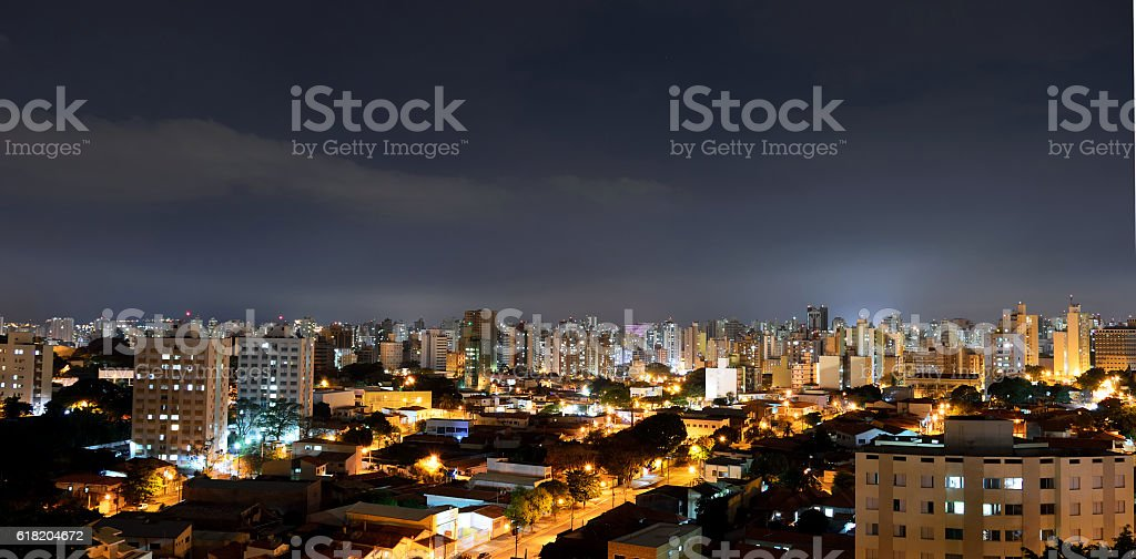 Panoramic Top view of the city of Campinas, in Brazil stock photo