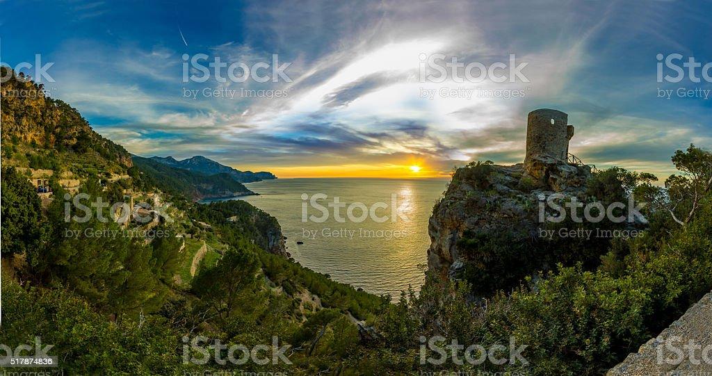 Panoramic Torre del Verger tropic beach turquoise mediterranean Palma Mallorca stock photo