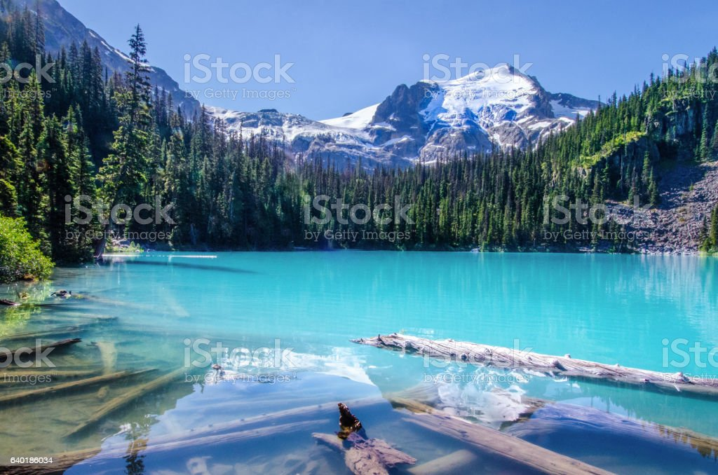 Panoramic turquoise color lake in mountainscape, British Columbia, Canada stock photo