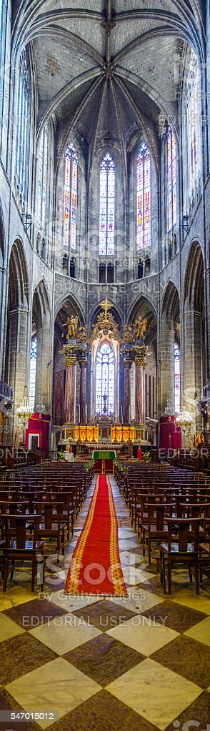 Panoramic vertical view of Saint Pasteur Cathedral of Narbonne stock photo