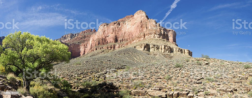 Panoramic vew of Battleship Butte in Grand Canyon stock photo