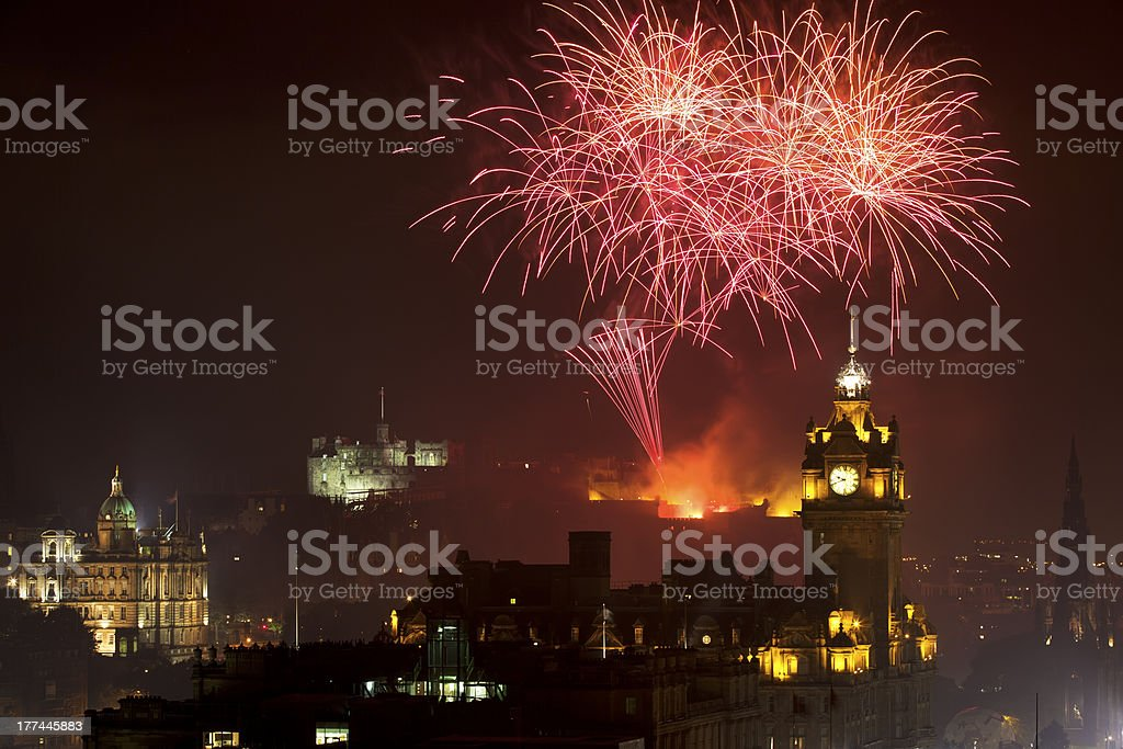 Panoramic vew on Edinburgh castle with fireworks royalty-free stock photo