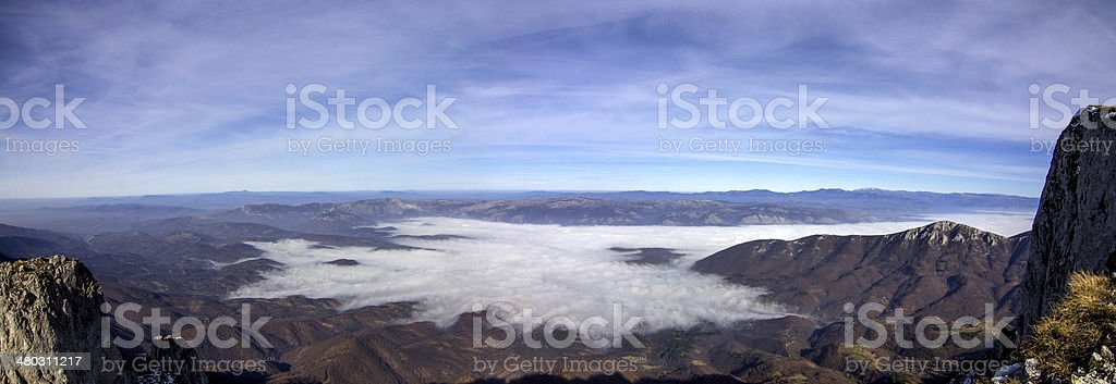 panoramic view above clouds royalty-free stock photo