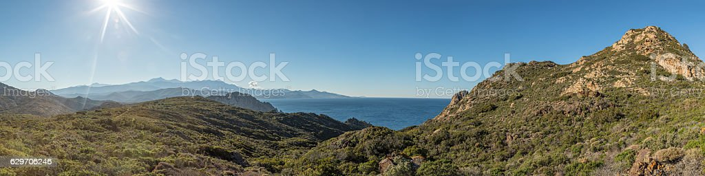 Panoramic view across Desert des Agriates in Corsica stock photo