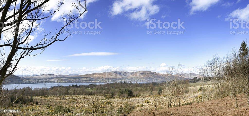 Panoramic View Across Loch Lomond To Balcnock And Creachan Hill royalty-free stock photo