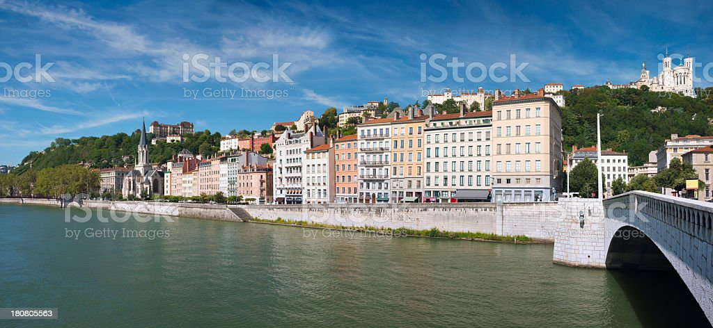 Panoramic View Across Saone River in Lyon, France royalty-free stock photo