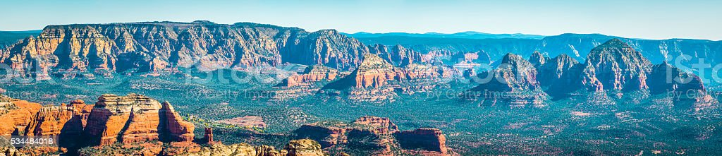 Panoramic view across the red rock forests of Sedona Arizona stock photo