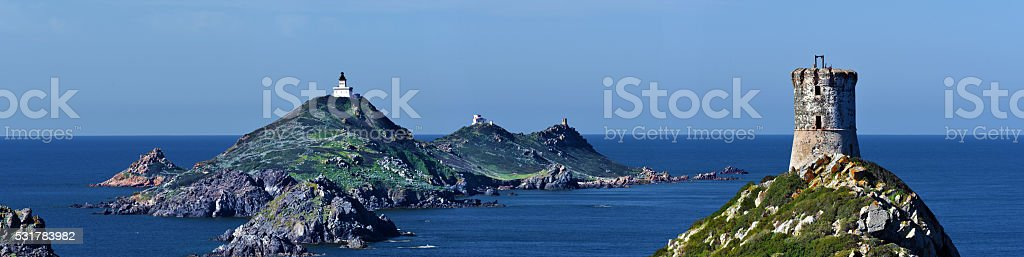 Panoramic View at Archipelago Sanguinaires and Parata tower stock photo