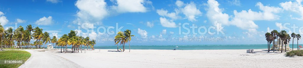 Panoramic view at Crandon park Beach of Key Biscayne stock photo