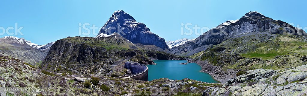Panoramic View at Gloriette reservoir in French Pyrenees stock photo