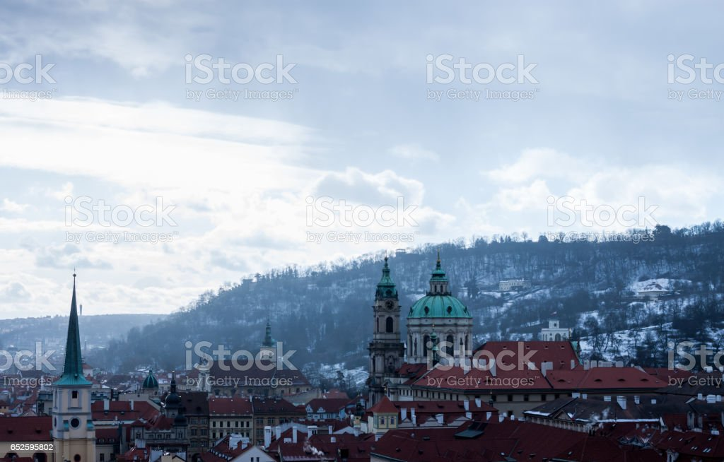 panoramic view at Prague red roofs stock photo