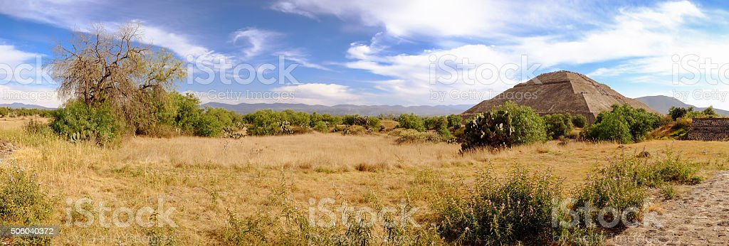 Panoramic view at Teotihuacan, trees and Pyramid of the Sun stock photo