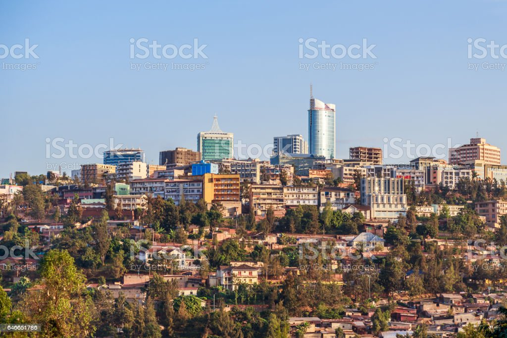 Panoramic view at the city bussiness district of Kigali, Rwanda, 2016 stock photo