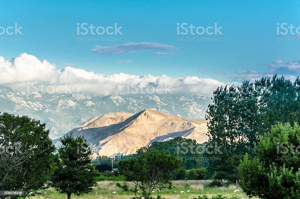 Panoramic view at valley - Island Krk, Croatia stock photo