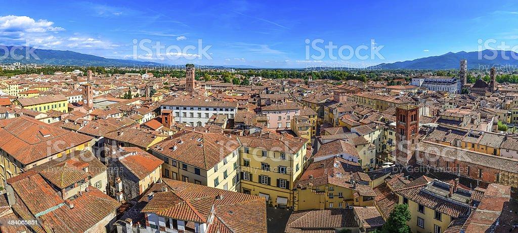 Panoramic view beautiful Italian town Luca stock photo