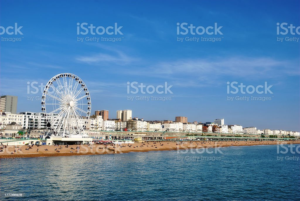 Panoramic View Brighton Beachfront stock photo