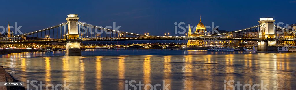 Panoramic view Chain Bridge and Parliament in Budapest at dusk stock photo