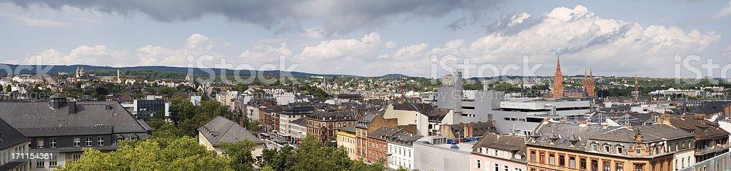 Panoramic view - city of Wiesbaden, Germany stock photo