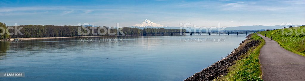 Panoramic View Columbia River Mt Hood Oregon with Bike Path stock photo