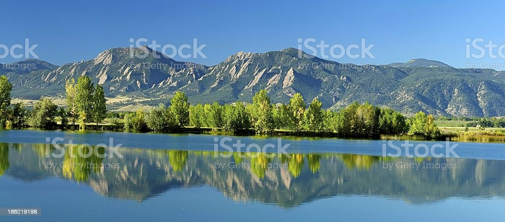 Panoramic View Flatirons Boulder in the Fall stock photo