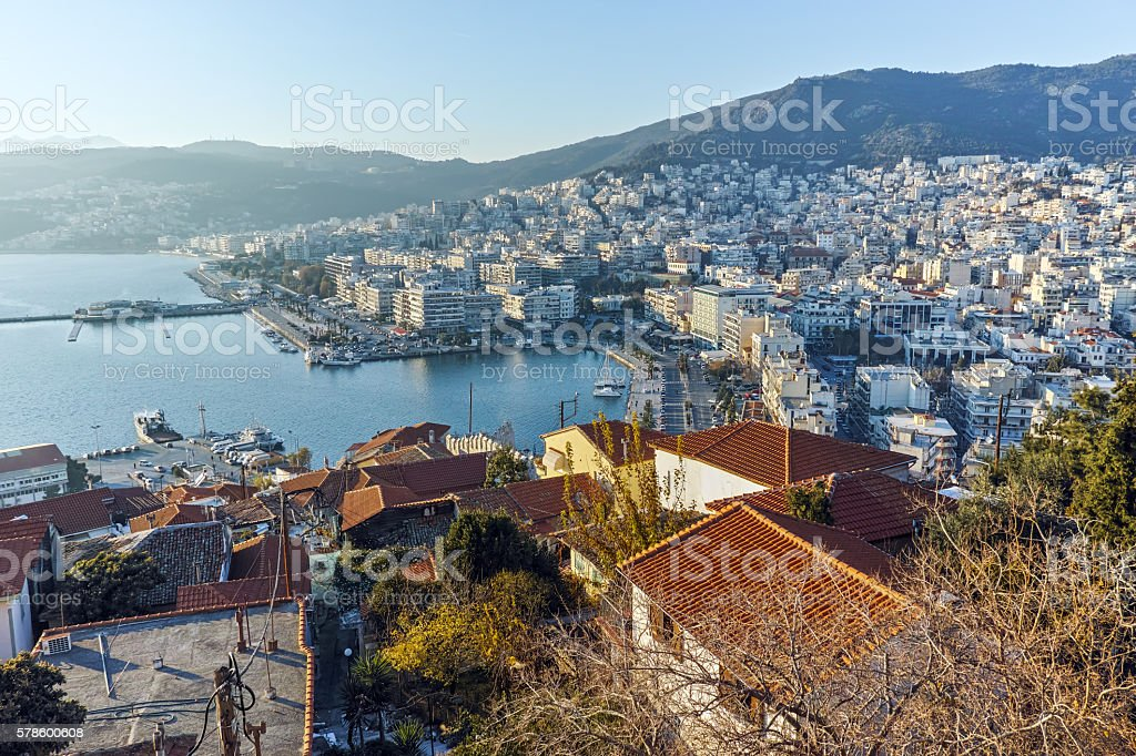 Panoramic view fortress to Kavala, Greece stock photo